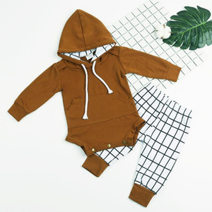 2pcs Autumn Baby Boy Girl Clothing Set Long Sleeve Hooded Romper + Plaid Pants Outfits Set Infant Kids Fashion Clothes