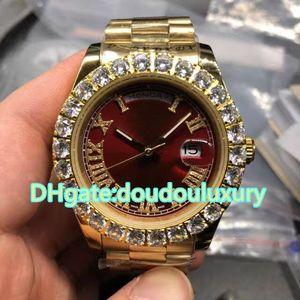 프롱은 골드 스테인레스 스틸 손목 시계 레드 다이얼 럭셔리 다이아몬드 브랜드 남성 시계 자동 기계식 방수 시계 세트를 무료 배송