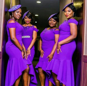 Purple Hi-lo Mermaid Bridesmaid Dresses African Nigerian Beaded Scoop Neck Satin Wedding Party Gowns Maid Of Honor Dress Formal Gowns