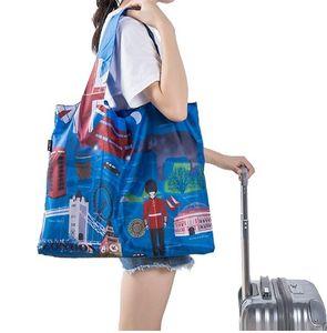 쇼핑 가방 방수 여행 사용자 지정 재사용 가능한 핸드백 여자 어깨 천으로 주머니 접이식 식료품 일괄 주최자