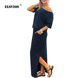 ELSVIOS Sexy Slash cuello lado Split vestido suelto mujeres verano largo Maxi vestido de manga corta vestido de fiesta de noche bolsillo Vestidos D1891304