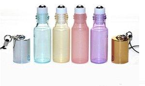 5ml Pendentif de Perles Couleur Rollon Bouteille Roller en Métal Huile Essentielle vide parfum en verre Fioles Porte-clés Bouteilles en verre à rouleaux