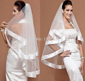 En stock Encantador velo de novia Mantilla de novia Cinta ancha Satén Recortar Borde 2 capas de tul blanco accesorios de boda