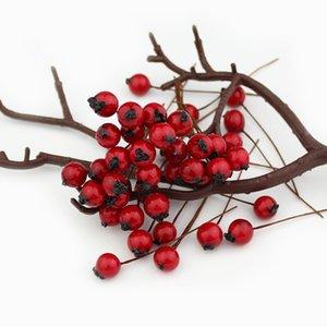 1cm 50pcs fleurs artificielles étamines baies rouges cerise faux fruits mousse lisse pour le mariage décoration de noël