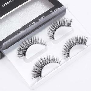 2Pairs box Natural Fake lashes long makeup 3d mink lashes eyelash extension mink eyelashes for beauty #758