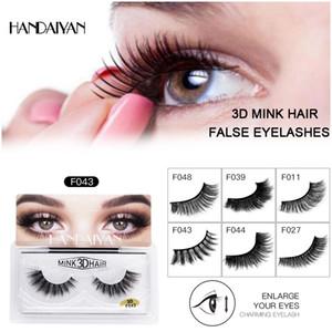 New Brand Eyelashes Makeup HANDAIYAN 3D Visone Capelli ciglia Ciglia finte 6 Stili Fatti a mano Bellezza Spessa Lungo Morbido Visone Ciglia Ciglia