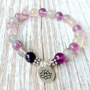 Naturale Bracciale Yoga fluorite gioielli di moda `s Chakra Cristalli Aura pulizia di guarigione del polso del braccialetto gioielli