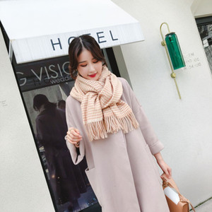 Autumn And Winter New Classic Thousand Birds Lattice Imitation Cashmere Plaid Scarf Korean Version Of Students Long Have To Thicken