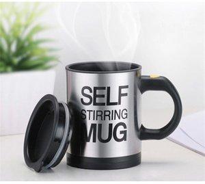 Creative Self Stirring Cup Tazas 400 ml Taza de café eléctrica Auto taza de mezcla automática con tapa Tazas de beber de acero inoxidable caliente