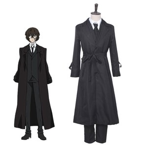 Japon Anime Kaçak Köpekler Cosplay Kostüm Dazai Osamu Cosplay Kostüm Dazai Osamu Siyah Siper Pantolon Kravat Setleri
