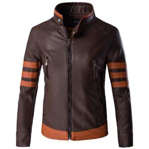 Logan Erkek PU Deri Ceket Biker Streetwear Kış Erkek Çizgili Ceket Panelli Ceket Asya Boyutu M-5XL