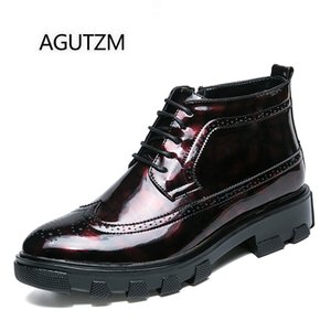 AGUTZM 988 Fashion Bullock Carved High Top Lace UP Höhe Zunehmende PU Leder Square Heel Herren Casual Brogue Schuhe
