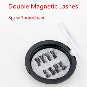 8pcs = 1box = 2pairs migliore qualità doppie magnetici Lashes 3D visone riutilizzabile Fasle ciglia senza colla trasporto libero del DHL