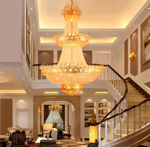 European Luxury Penthouse Villa Sala de estar Duplex Staircase K9 Cristal Chandeliers Levado Rotating Hotel Lobby Luminária Luminária LLFA