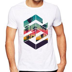 Summer Fashion Geometric Sunset Beach Design T Shirt Men 'S Cool Design High Quality Tops Custom Hipster Tees