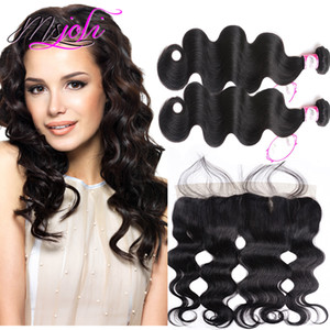 Bundles With Frontal Indian Hair Body Wave Natural Color 8-28 Inch Available 13x4 Frontal With 2 Bundles Human Hair Extension