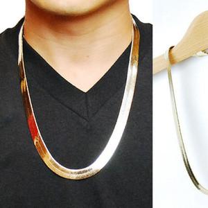 Altın Yılan Zincir Boutique'nin 1cm Düz Yılan / Ejderha Kemik Retro Bakır Hip Hop Herringbone Zincir kolye Metal Kadınlar Erkekler Takı