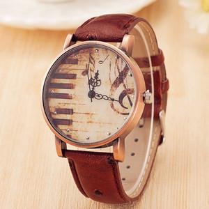 Nouveau bronze ceinture horloge Mesdames piano musique symbole montre Girlfriend cadeau en gros