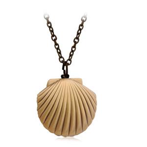Vintage antiguo de latón sirenas mar Shell Locket collar náutico mar océano playa joyería playa boda collar colección