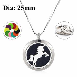 Running Horse 25mm Parafuso Torção Aromaterapia Óleo Essencial Medalhão 316L Aço Inoxidável Perfume Difusor Colar (livre 60 cm cadeia e almofadas)
