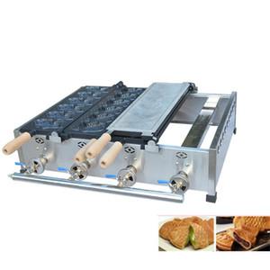 Más popular LPG Gas Forma de pescado Máquina de Taiyaki Comercial Gas Doble placa 12 unids Pescado Taiyaki Máquina de hacer gofres