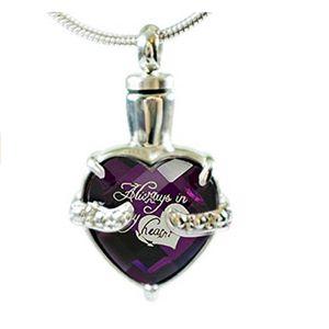 """Infinity Keepsakes Cremation Urn Necklace for Ashes """"Always in my Heart"""" Grabado Joyería de duelo con kit de relleno y bolsa de terciopelo"""