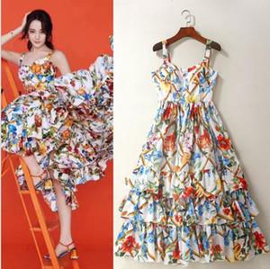 2018 marca mesmo estilo vestidos Spaghetti Strap Flora impressão vestido Império A linha vestidos sem mangas de moda AS