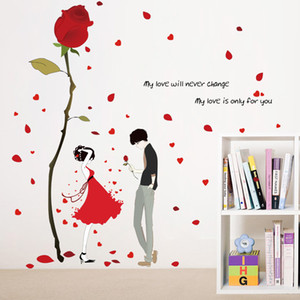 Cartoon red rose self-adhesive wall stickers red dress girl boy lover petals love quote sticker bedroom living room decor decals