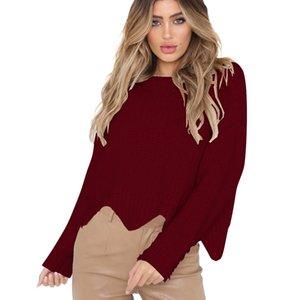 Mujeres Otoño Primavera cuello redondo Long Bat-wing Mangas sueltas Plus Size Tejer Irregular Lap Sweater Amarillo Negro FS0551