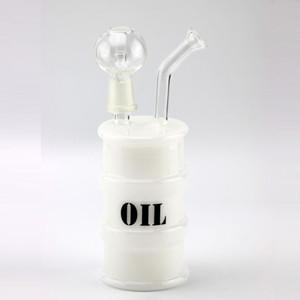 """L'huile de verre Rigs bong mini tambour rig 14mm clou et dôme grand 6.6 """"pipe d'eau en verre de narguilé"""