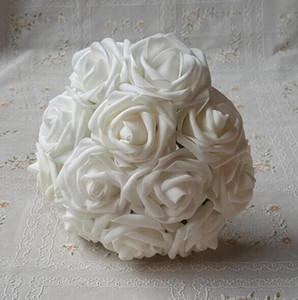 Simülasyon çiçek Beyaz Köpük Güller Gelin Buketi Yapay Düğün Christams Dekor Merkezinde Çiçekler
