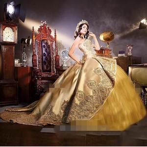 2018 Sparkly Gold Quinceanera Robes Appliques Embrodiery Perles Teared Sweetheart 16 Doux Fête D'anniversaire Robes Avec Train Détachable