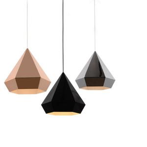 E27 LED 북유럽 로프트 피라미드 다이아몬드 크롬 / 구리 / 금 펜던트 조명 램프 American Minimalist Suspension Luminaire Dining Room Kitchen