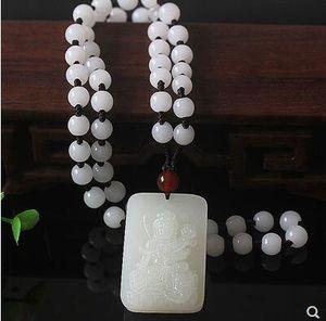 Hetian jade signe du zodiaque chinois les huit dieux gardien pendentif homme collier bijoux femme guanyin.