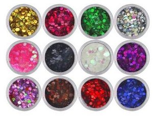 Laser 12 Couleurs Nail Art Glitter ROND Formes Confetti Paillettes Pour Ongles UV Gel Vernis À Ongles Art Glitter 3mm