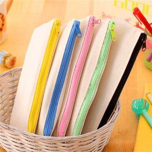 DIY lona blanca bolso del lápiz en blanco llano cremallera bolsas de lona pluma casos papelería embrague bolsa organizador bolsa de almacenamiento de regalo