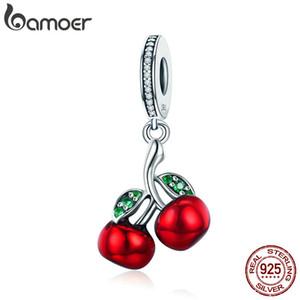 Trendy 925 Ayar Gümüş Meyve Kırmızı Emaye Kiraz kolye Charm Fit Kadınlar Bilezikler Kolye Moda Takı