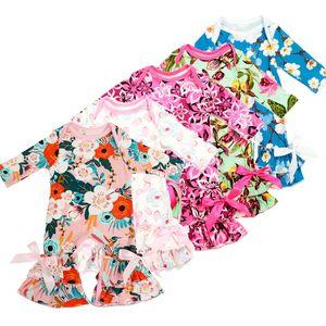 Baby floral Ruffle pagliaccetto ragazze stampa floreale Tute 2018 nuovi bambini arruffati pigiami per bambini Salire vestiti 30 stili C3559