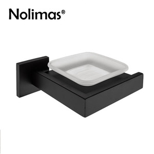Edelstahl Sus 304stainless Steel Black Badezimmer-Halter mit Glas Modern glatten Spiegel-Platz Seifenschale Regal Bad-Accessoires