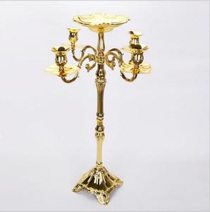 Candelabro dorado superior clasificado del piso Candelero del metal 83cm, candelabro puro del oro con el cuenco agradable de la flor