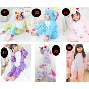 Çocuklar Unicorn Onesies Pijama Erkekler Kızlar Hayvan Fanila Cosplay Kostüm pijamalar Giyim Homewear 36 Stiller HH7-300