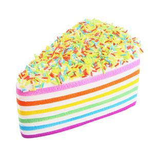Lindo Kawaii Soft Squishy Squishi Colorful Rainbow Cake Pan Phone Straps Lento Levantamiento Bun Charms Regalos Juguetes Descompresión Diversión