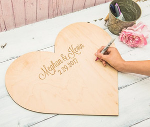 Personalizzato Cuore di legno Wedding Guest Book unico Firma Libro degli Ospiti Baby Shower Rustico Guest Book telaio inciso Wooden Sign