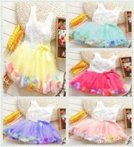 Ropa para bebés Princesa niñas flor vestido 3D rosa flor bebé niña vestido tutu con colorido vestido de encaje pétalo Bubble Falda ropa de bebé TO4