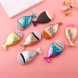 Cepillos de maquillaje de la sirena Cepillo de la forma de los pescados de la sirena Cepillo de dientes de la crema del arco iris del BB Set Cosméticos de la belleza de los cosméticos Blush DHL libremente