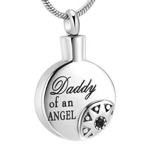 "Joyas talladas de ""Daddy of an Angel"" talladas para Dad Memorial - Colgante de ceniza colgante de urna conmemorativa de acero inoxidable Sun redondo IJD10723"