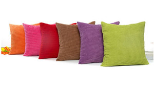 45*45cm Pure Color Concise Corduroy Square Corn Grain Shaped Pillowcase Car Office Sofa Decor Cushion Cover