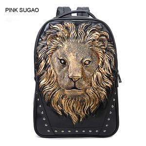 Rosa Sugao Rucksack Mannentwerfers Rucksäcke 3 Farbe oben PU-Leder Tasche 3D-Druck Tier Anti-Diebstahl-Tasche Reise Schulbuchtasche Rucksack