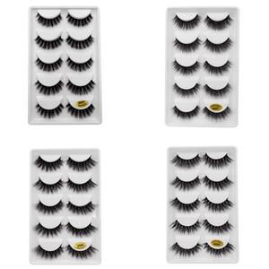 5 pares / set 3D Mink Falso EyeLashes Grosso Plástico Preto de Algodão Tira Cheia de Cílios Falsos Para Festa Make Up Tool Com Cosméticos