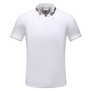 2019 t-shirt polo a righe di design t-shirt polo serpente ricami floreali uomo t-shirt polo di alta moda cavallo